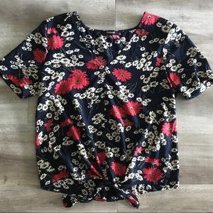 Madewell Navy Floral Tie Front V-Neck Blouse XS